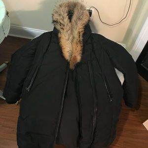 Mackage full length jacket with wrap around fur
